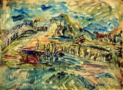 """Aquarelle sur papier vers 1933 en Pologne - 43x32cm - Signature """"Lutka Pink"""" en bas à droite. Signature personnelle 1946 - Collection privée"""