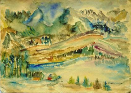 """Aquarelle sur papier vers 1933 en Pologne - 44,5x31,5cm - Signature """"Lutka Pinkusewiez"""" en bas à droite - Collection privée"""