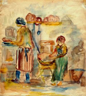 Aquarelle sur papier vers 1933 en Pologne - 37x34cm - Collection privée
