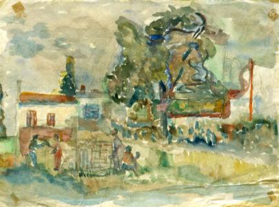 Aquarelle sur papier - 31,5x24,5cm - Entre 1941 et 1944 en Provence  -  Collection privée