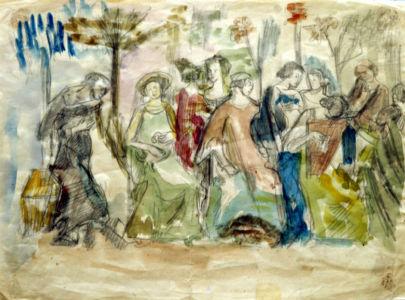 Aquarelle sur papier - 33x24cm - Entre 1941 et 1944 en Provence - Collection privée