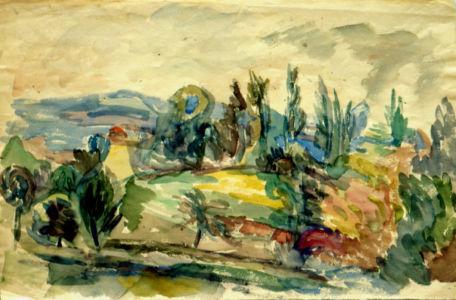 Aquarelle sur papier - 37,5x41,5cm - Entre 1941 et 1944 en Provence - Collection privée