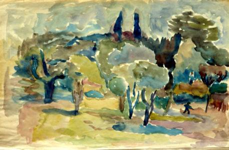 Aquarelle sur papier - 48x32cm - Entre 1941 et 1944 en Provence - Collection privée