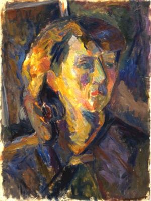 Huile sur papier - 48x35,5cm - 1949 - Autoportrait