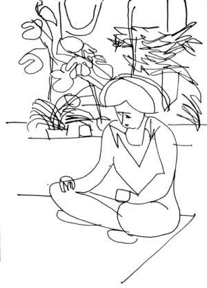 Encre bleue sur papier - 42x30cm - Signature en bas à gauche