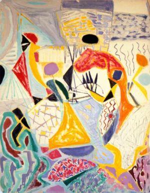 """""""Passage"""" - Gouache sur papier - 64,5x49,5cm - 1952"""