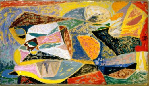Huile et gouache sur papier collé sur contreplaqué - 135x77cm - 1951 - Exposée au salon de Mai 1951