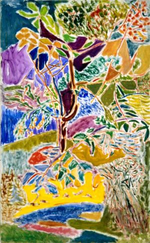 """"""" Le jardin """" - Huile sur isorel - 114x70cm (50M) - 1984"""
