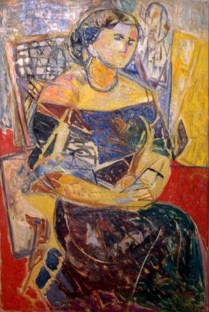 """"""" Portrait de Marie Golmit, England """" - Huile sur toile - 97x64cm (40M) - 1949 - Signature en bas à droite"""