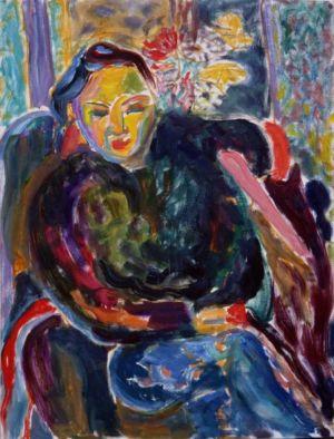 """"""" Portrait de femme """" - Huile sur toile et carton - 61x50cm - 1993"""