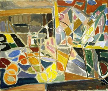 """Huile sur toile - 53x45cm (10F) - 1949 - Signature en bas à droite """"Pink 49"""""""