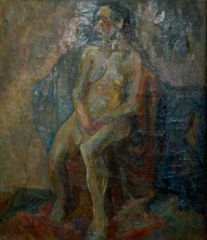 """""""Femme nue assise"""" - Huile sur toile - 53x44cm (10F) - 1938 Pologne - Collection privée"""