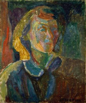 """""""portrait de femme"""" - Huile sur toile - 46x38cm (8F) - 1943 - Signature en bas à droite"""