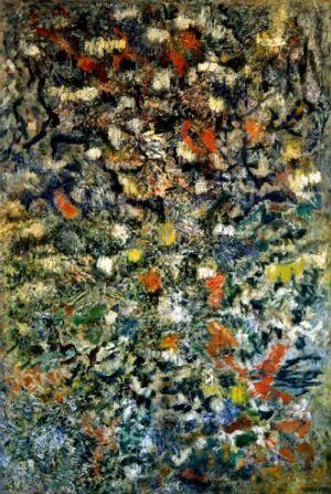 """Huile sur toile - 208x140cm - 1958 - Au dos """" Jardin magique. Lutka Pink 59 ave de Saxe 75007 """" - Signature en bas à droite"""