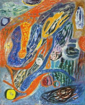 """Huile sur toile - 170x140cm - 1964 - Au dos """"Lutka Pink 59 Ave de Saxe 75007, 64"""" - Signature en bas à  droite"""