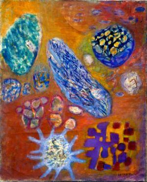 """Huile sur toile - 92x73cm (30F) - 1962 - Au dos """" 62 Lutka Pink 59 ave de Saxe Paris 7 """""""