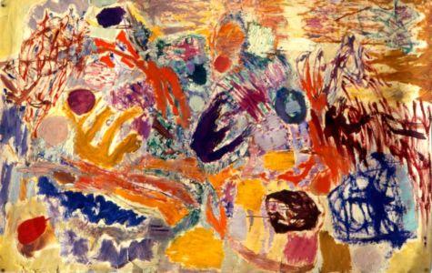 Technique mixte sur papier marouflé sur toile - 118x69cm - 1960