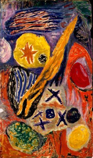 Technique mixte sur papier marouflé sur toile - 127x70cm - 1965