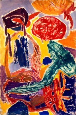 Technique mixte sur papier marouflé sur toile - 117x69cm - 1960