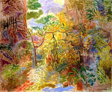 """"""" Le jardin imaginaire """" - Huile sur toile - 130x162cm (100F) - 1984 - Signature en bas à droite - Collection privée"""