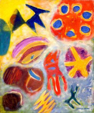 """Huile sur toile - 73x60cm (20F) - 1977 - Au dos """"77 Lutka Pink 59 ave de saxe Paris 75007"""" - Signature en bas à droite"""