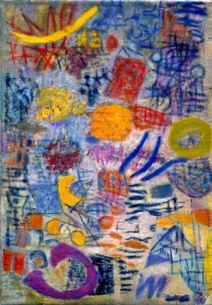 """Huile sur toile - 71x48cm - 1954 - """" Au dos / Mai 54. Lutka Pink 59 ave de Saxe 75007 """""""