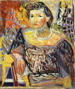 """Huile sur toile - 66x54cm (15F) - 1947 -  Au dos  """"Portrait Maurice Goldsnit"""" - Signature """"Pink"""" en bas à droite"""