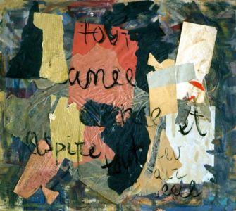 """Collage avec texte sur isorel - 65x55cm (15F) - 1960 - Au dos """"60"""""""