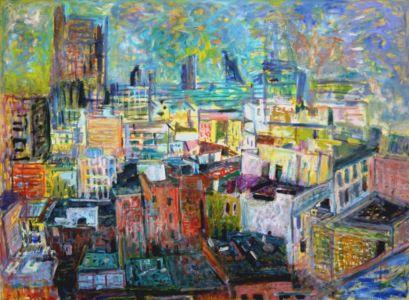 """"""" New York à l'hôtel Chelsea, vue de l'appartement de Lutka Pink au 10eme étage"""" - Huile sur toile - 119x88cm - Cachet de la signature au dos - Collection privée"""