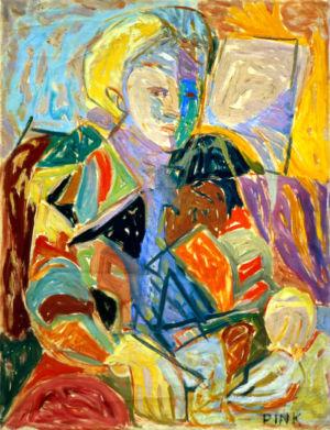 """"""" Portrait de Marie Golmit, England """" - Huile sur toile - 61x46cm (12P) - 1949 - Au dos """"Paris 49"""" - Signature en bas à droite """"Pink"""""""