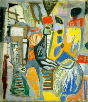 """Huile sur toile - 58x48cm - 1948 - Au dos """"L'ébauche d'un tableau 48"""""""