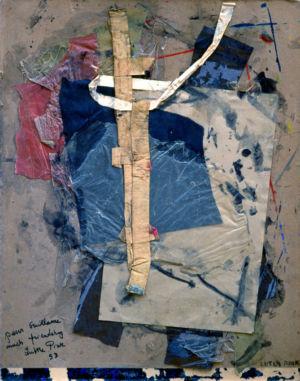 """Collage sur carton - 55,5x43cm - 1993 - Signature en bas à droite. A gauche """"pour Guillaume much friendship Lutka Pink 93"""""""