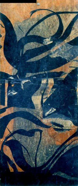 Encre de chine et collage sur bois - 58x25cm - 1960