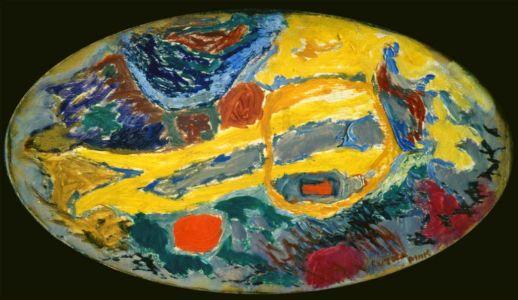 """Huile sur bois - 61,5x34,5cm - 1959 - Au dos """" 59 ave de Saxe 75007 Lutka Pink """" - Signature en bas à droite"""