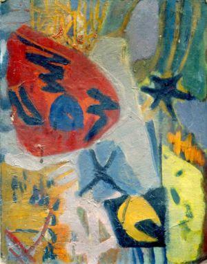 Huile sur toile cartonnée - 35x27cm - 1959
